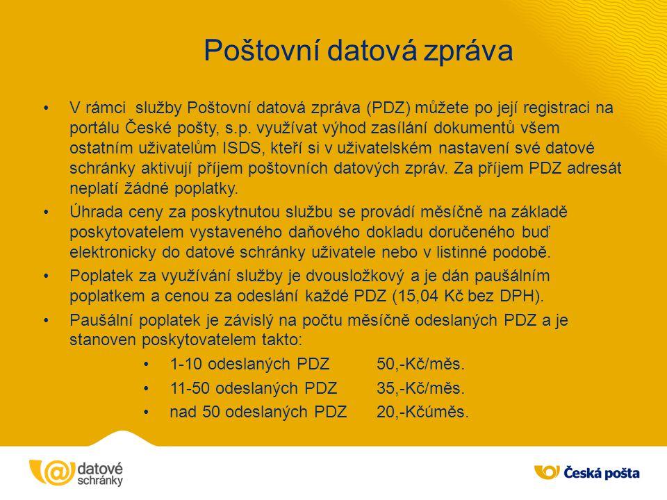 Doplňkové služby ISDS Česká pošta jako provozovatel Informačního systému datových schránek (ISDS) poskytuje mimo základních služeb ISDS také doplňkové služby, jež uživatelům ISDS umožňují využít výhod ISDS k úspoře času při komunikaci s orgány veřejné moci (OVM) a podnikatelskými subjekty (PO, PFO).