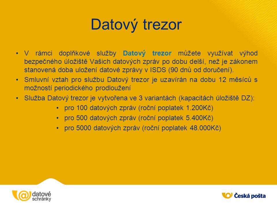 V rámci doplňkové služby Datový trezor můžete využívat výhod bezpečného úložiště Vašich datových zpráv po dobu delší, než je zákonem stanovená doba ul