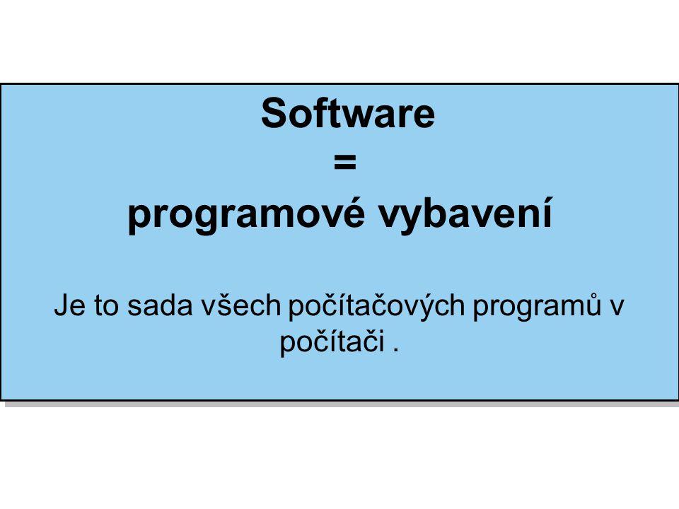 Software (SW) Systémový SWAplikační SW Firmware Operační systém OS pro osobní počítače Mobilní OS Síťový OS Antivirové programy Databázové systémy Ekonomické a informační systémy Grafické editory - bitmapové - vektorové Hry Internetové prohlížeče (browsery) Kancelářské balíky Pomocné programy - utility Poštovní programy Prezentační programy Správci souborů a archivační programy Tabulkové kalkulátory Technické programy (CAD, CAM, CAE, …) Textové editory a DTP programy Výukové programy Vývojové nástroje (nástroje pro tvorbu programů, kompilátor, debugger, …) další