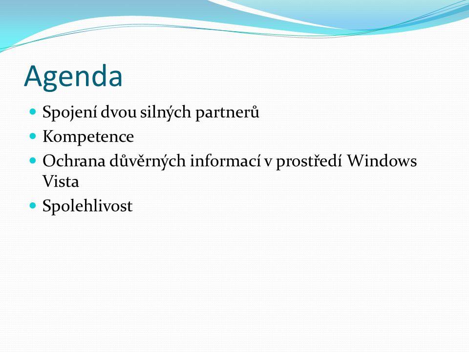 Agenda Spojení dvou silných partnerů Kompetence Ochrana důvěrných informací v prostředí Windows Vista Spolehlivost