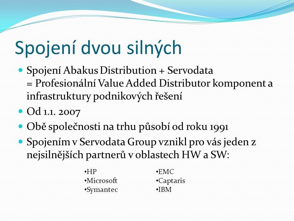 Spojení dvou silných Spojení Abakus Distribution + Servodata = Profesionální Value Added Distributor komponent a infrastruktury podnikových řešení Od