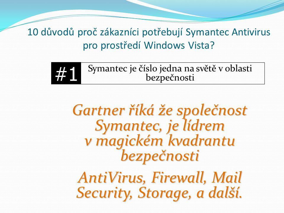 Gartner říká že společnost Symantec, je lídrem v magickém kvadrantu bezpečnosti AntiVirus, Firewall, Mail Security, Storage, a další. #1 Symantec je č