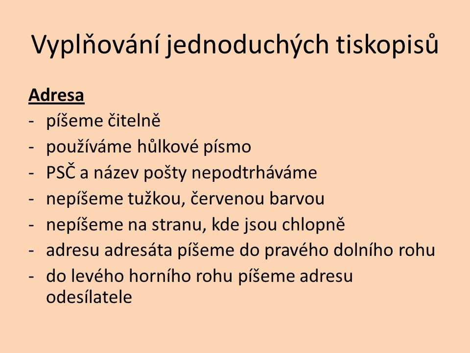 Příklad 1 Petr Novák Masarykova 5 580 01 Havlíčkův Brod Paní Jana Novotná Květná 27 591 01 Žďár nad Sázavou