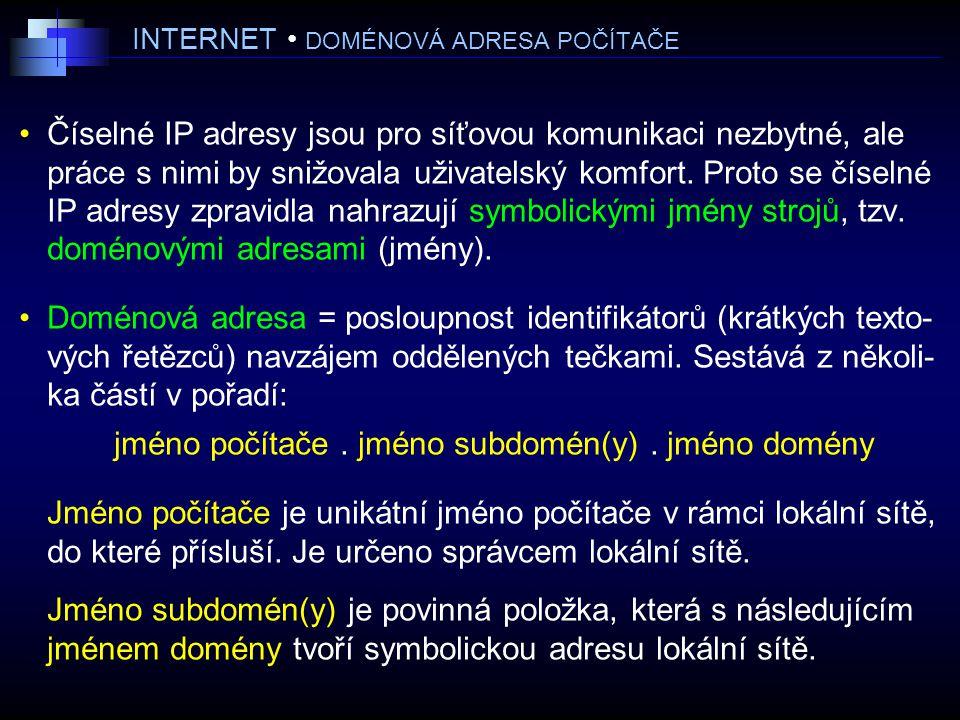 INTERNET DOMÉNOVÁ ADRESA POČÍTAČE Číselné IP adresy jsou pro síťovou komunikaci nezbytné, ale práce s nimi by snižovala uživatelský komfort.