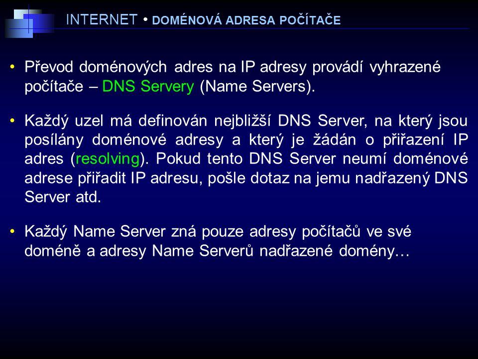 INTERNET DOMÉNOVÁ ADRESA POČÍTAČE Převod doménových adres na IP adresy provádí vyhrazené počítače – DNS Servery (Name Servers).