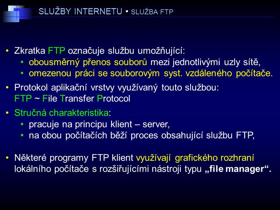 SLUŽBY INTERNETU SLUŽBA FTP Zkratka FTP označuje službu umožňující: obousměrný přenos souborů mezi jednotlivými uzly sítě, omezenou práci se souborovým syst.
