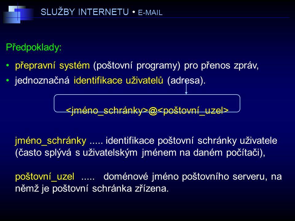 SLUŽBY INTERNETU E-MAIL Předpoklady: přepravní systém (poštovní programy) pro přenos zpráv, jednoznačná identifikace uživatelů (adresa).