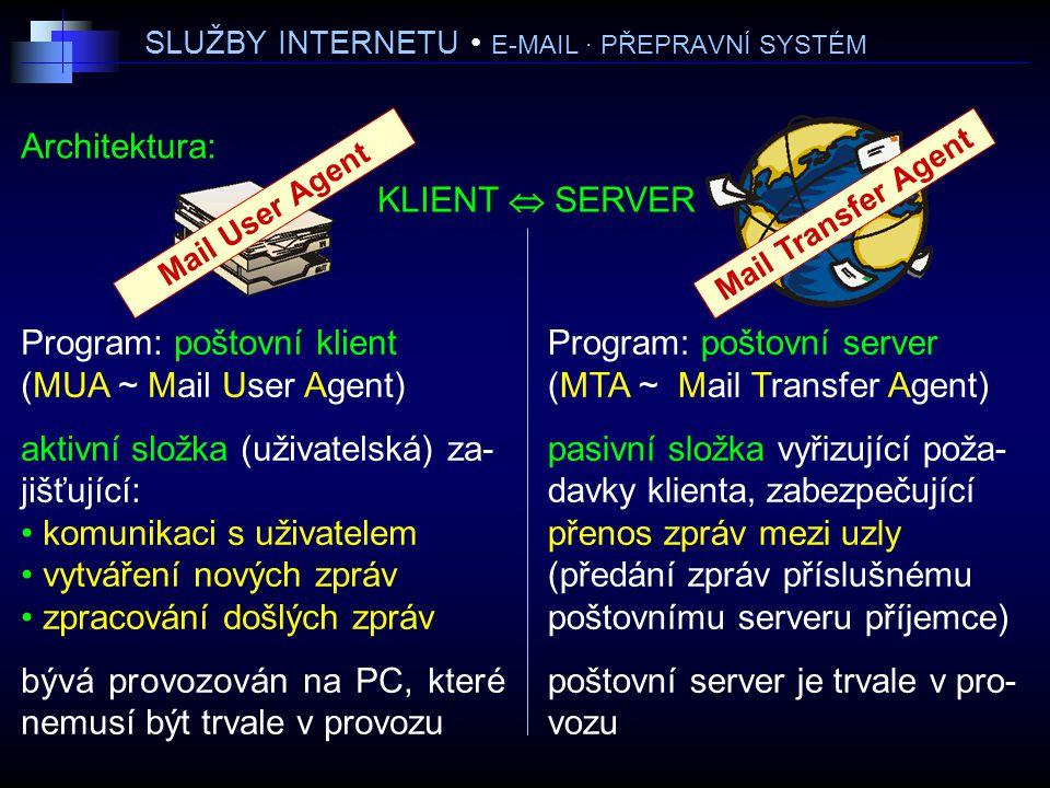 SLUŽBY INTERNETU E-MAIL · PŘEPRAVNÍ SYSTÉM Architektura: KLIENT  SERVER Program: poštovní klient (MUA ~ Mail User Agent) aktivní složka (uživatelská) za- jišťující: komunikaci s uživatelem vytváření nových zpráv zpracování došlých zpráv bývá provozován na PC, které nemusí být trvale v provozu Program: poštovní server (MTA ~ Mail Transfer Agent) pasivní složka vyřizující poža- davky klienta, zabezpečující přenos zpráv mezi uzly (předání zpráv příslušnému poštovnímu serveru příjemce) poštovní server je trvale v pro- vozu Mail User Agent Mail Transfer Agent