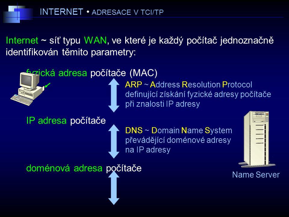 INTERNET ADRESACE V TCI/TP Internet ~ síť typu WAN, ve které je každý počítač jednoznačně identifikován těmito parametry: fyzická adresa počítače (MAC) IP adresa počítače doménová adresa počítače DNS ~ Domain Name System převádějící doménové adresy na IP adresy Name Server ARP ~ Address Resolution Protocol definující získání fyzické adresy počítače při znalosti IP adresy