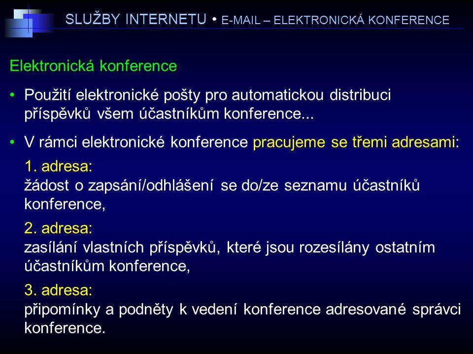SLUŽBY INTERNETU E-MAIL – ELEKTRONICKÁ KONFERENCE Elektronická konference Použití elektronické pošty pro automatickou distribuci příspěvků všem účastníkům konference...
