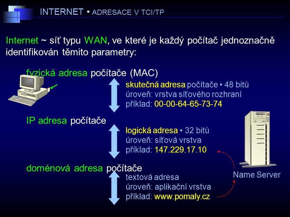INTERNET ADRESACE V TCI/TP Internet ~ síť typu WAN, ve které je každý počítač jednoznačně identifikován těmito parametry: fyzická adresa počítače (MAC) IP adresa počítače doménová adresa počítače logická adresa 32 bitů úroveň: síťová vrstva příklad: 147.229.17.10 Name Server skutečná adresa počítače 48 bitů úroveň: vrstva síťového rozhraní příklad: 00-00-64-65-73-74 textová adresa úroveň: aplikační vrstva příklad: www.pomaly.cz