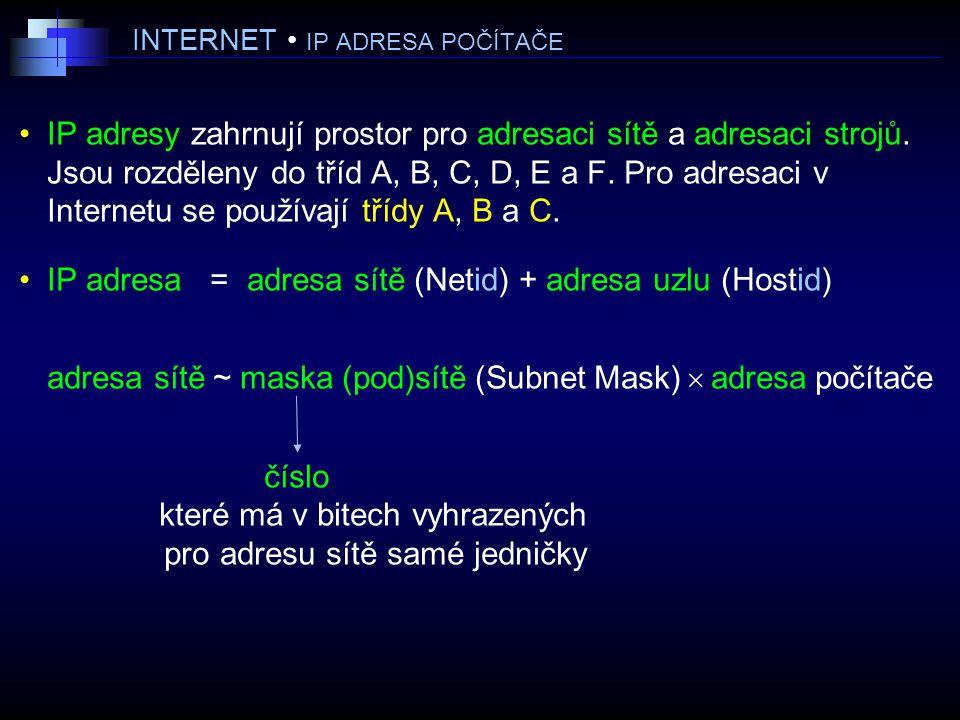 INTERNET IP ADRESA POČÍTAČE IP adresy zahrnují prostor pro adresaci sítě a adresaci strojů.