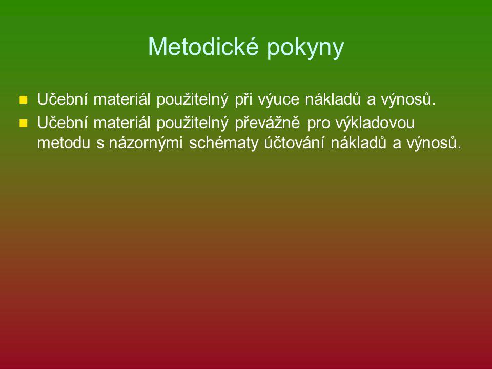 Metodické pokyny Učební materiál použitelný při výuce nákladů a výnosů. Učební materiál použitelný převážně pro výkladovou metodu s názornými schématy