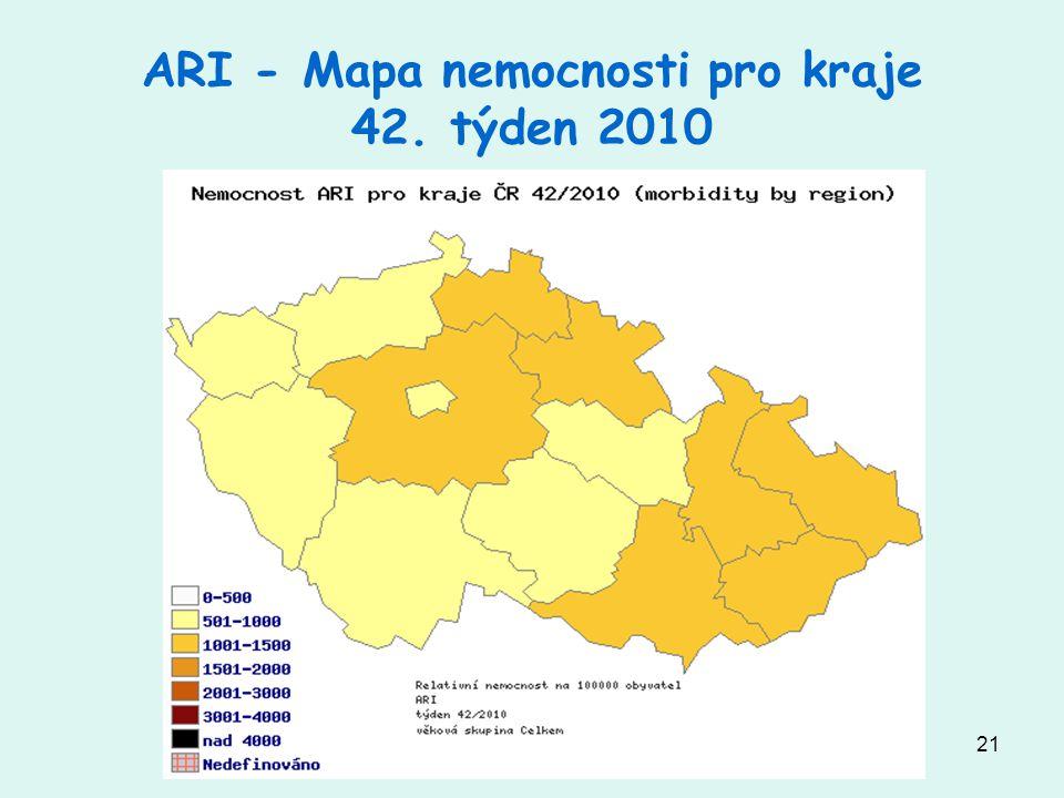 21 ARI - Mapa nemocnosti pro kraje 42. týden 2010
