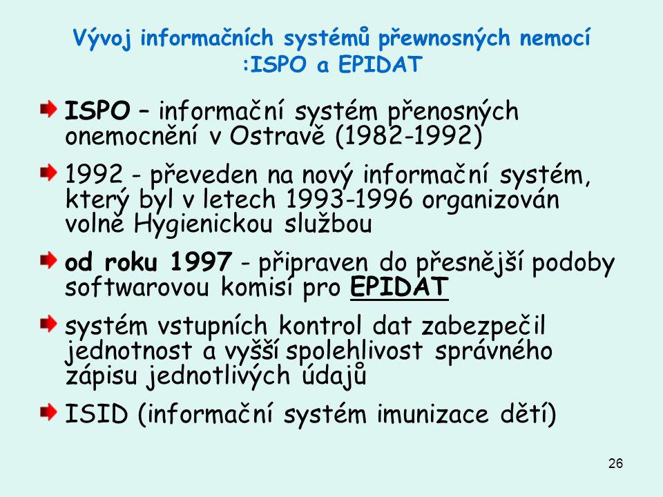 26 Vývoj informačních systémů přewnosných nemocí :ISPO a EPIDAT ISPO – informační systém přenosných onemocnění v Ostravě (1982-1992) 1992 - převeden n