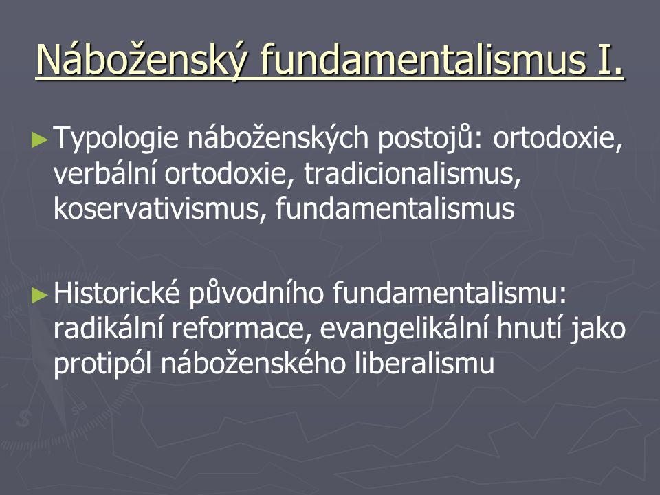 Náboženský fundamentalismus I. ► ► Typologie náboženských postojů: ortodoxie, verbální ortodoxie, tradicionalismus, koservativismus, fundamentalismus
