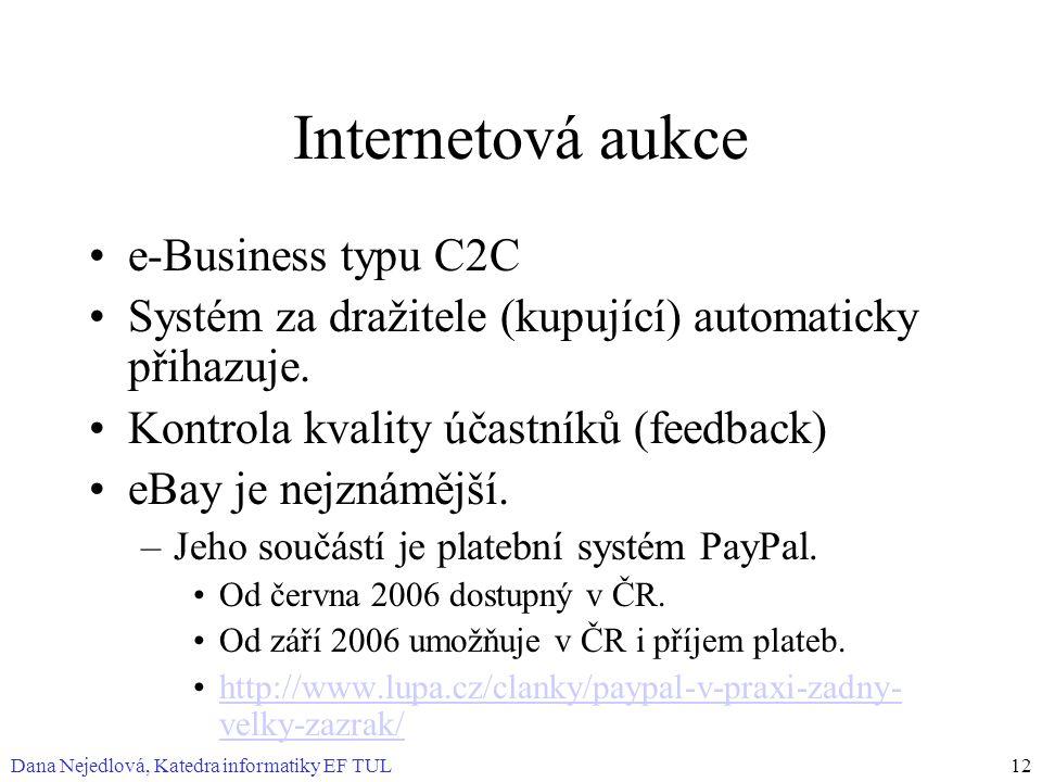 Dana Nejedlová, Katedra informatiky EF TUL12 Internetová aukce e-Business typu C2C Systém za dražitele (kupující) automaticky přihazuje. Kontrola kval