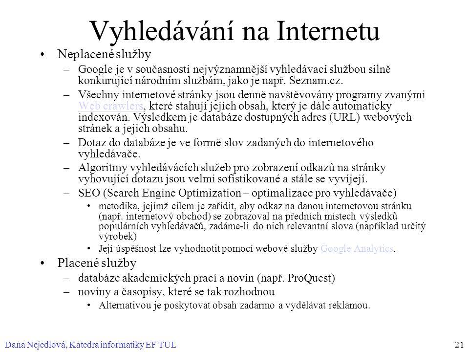 Dana Nejedlová, Katedra informatiky EF TUL21 Vyhledávání na Internetu Neplacené služby –Google je v současnosti nejvýznamnější vyhledávací službou sil