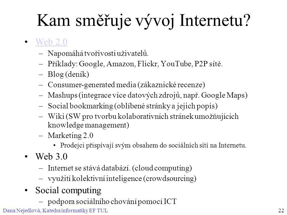 Dana Nejedlová, Katedra informatiky EF TUL22 Kam směřuje vývoj Internetu? Web 2.0 –Napomáhá tvořivosti uživatelů. –Příklady: Google, Amazon, Flickr, Y