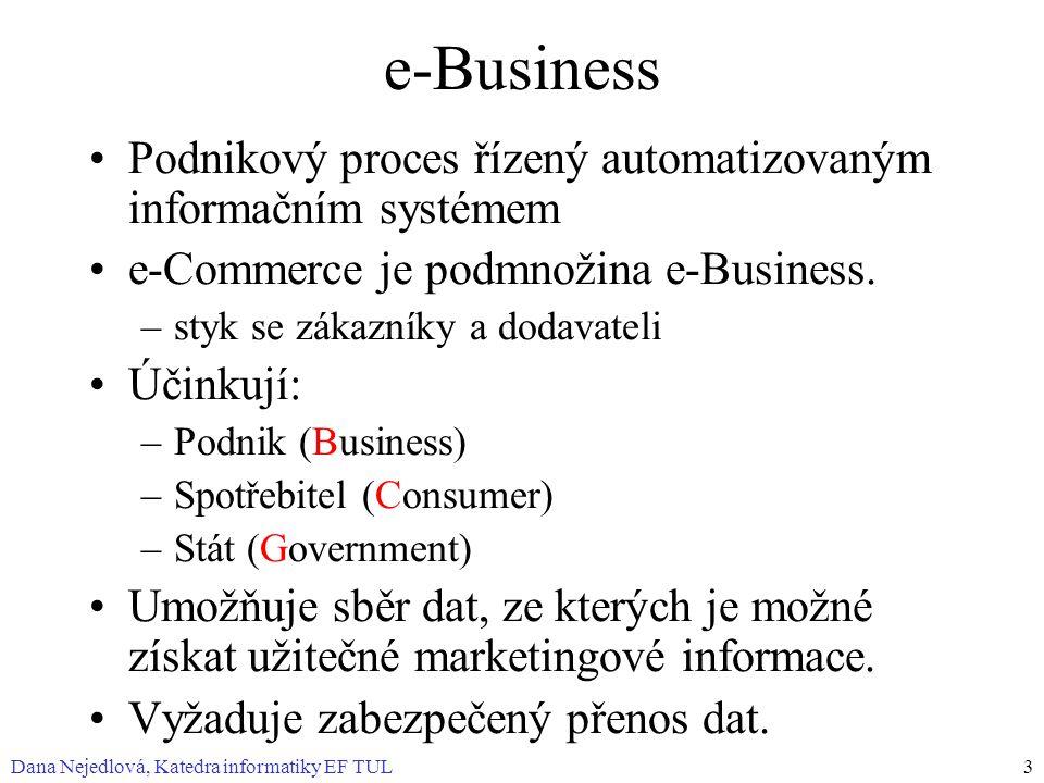 Dana Nejedlová, Katedra informatiky EF TUL3 e-Business Podnikový proces řízený automatizovaným informačním systémem e-Commerce je podmnožina e-Busines