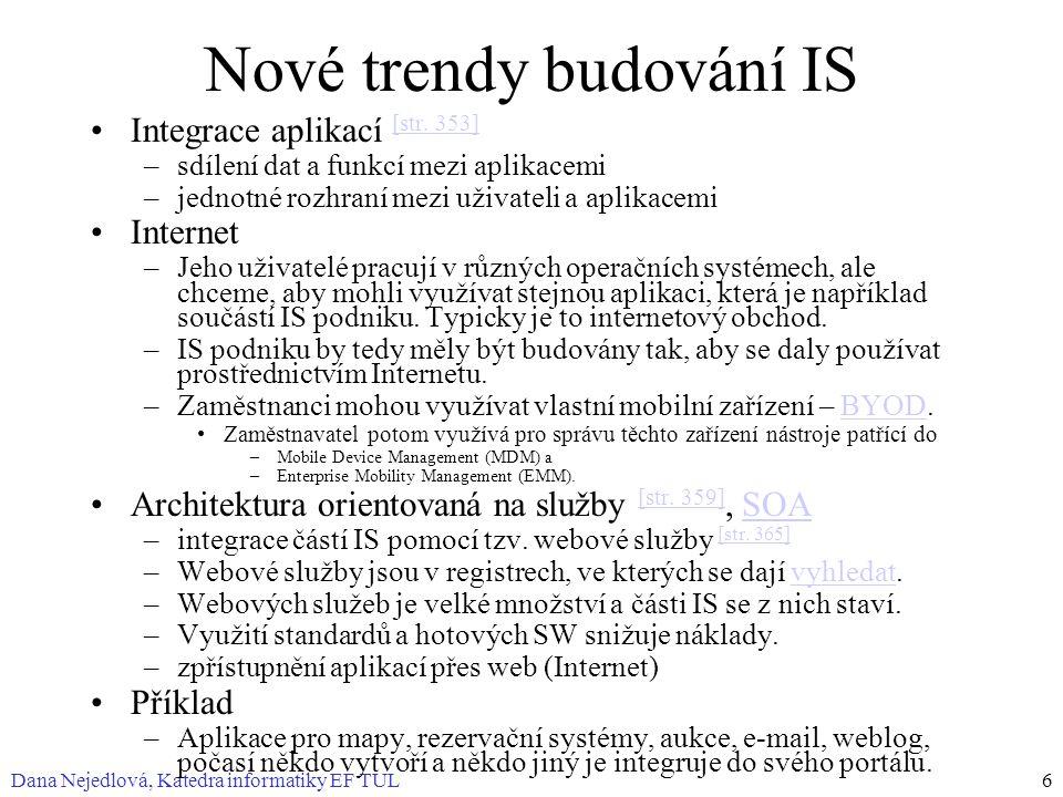 Dana Nejedlová, Katedra informatiky EF TUL6 Nové trendy budování IS Integrace aplikací [str. 353] [str. 353] –sdílení dat a funkcí mezi aplikacemi –je