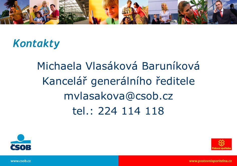 Kontakty Michaela Vlasáková Baruníková Kancelář generálního ředitele mvlasakova@csob.cz tel.: 224 114 118