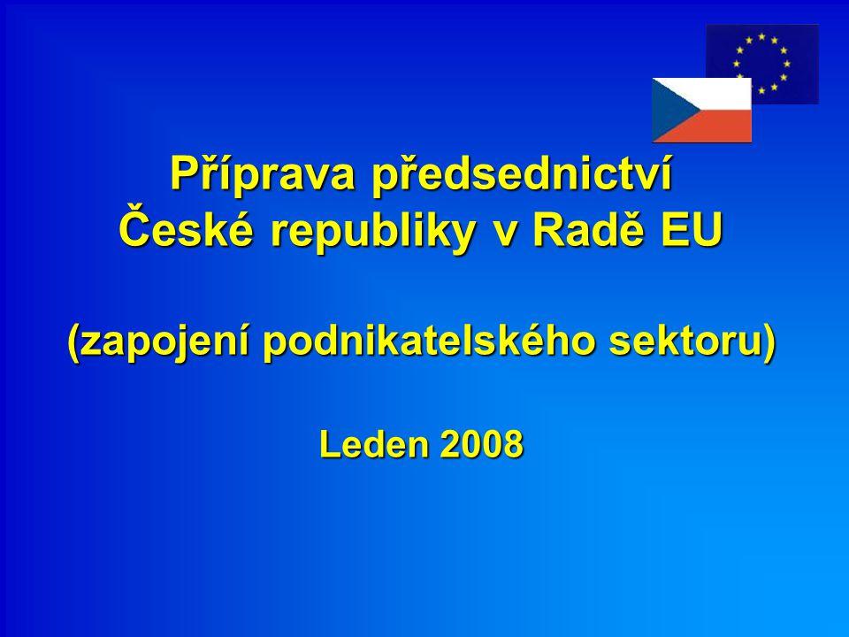 Příprava předsednictví České republiky v Radě EU (zapojení podnikatelského sektoru) Leden 2008 Příprava předsednictví České republiky v Radě EU (zapojení podnikatelského sektoru) Leden 2008