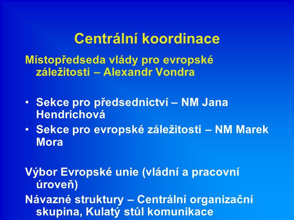 Centrální koordinace Místopředseda vlády pro evropské záležitosti – Alexandr Vondra Sekce pro předsednictví – NM Jana Hendrichová Sekce pro evropské z