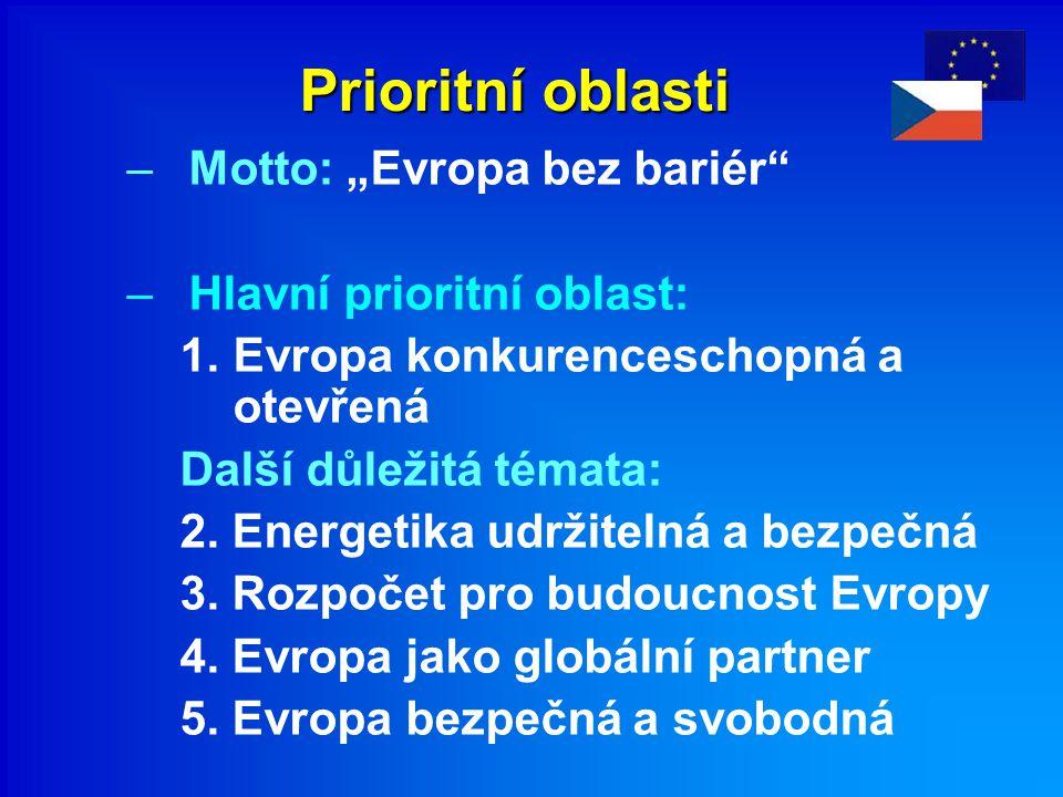 """Prioritní oblasti –Motto: """"Evropa bez bariér –Hlavní prioritní oblast: 1.Evropa konkurenceschopná a otevřená Další důležitá témata: 2."""