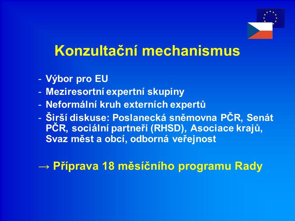 Konzultační mechanismus -Výbor pro EU -Meziresortní expertní skupiny -Neformální kruh externích expertů -Širší diskuse: Poslanecká sněmovna PČR, Senát