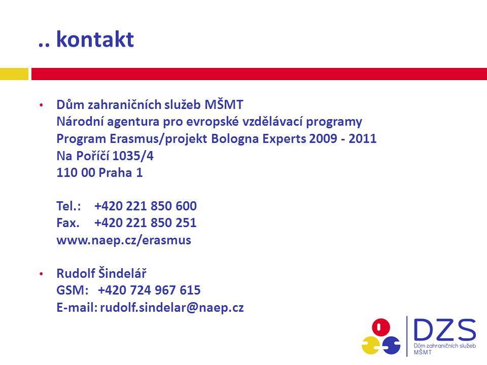 .. kontakt Dům zahraničních služeb MŠMT Národní agentura pro evropské vzdělávací programy Program Erasmus/projekt Bologna Experts 2009 - 2011 Na Poříč