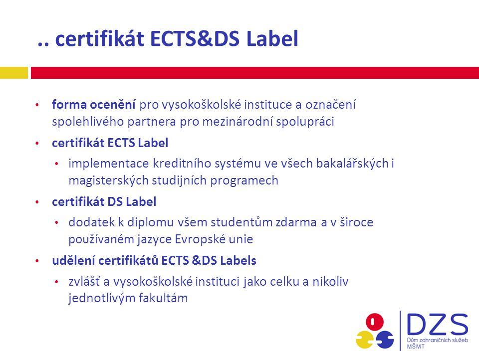.. certifikát ECTS&DS Label forma ocenění pro vysokoškolské instituce a označení spolehlivého partnera pro mezinárodní spolupráci certifikát ECTS Labe