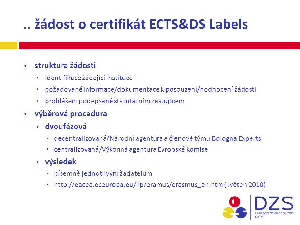 .. žádost o certifikát ECTS&DS Labels struktura žádosti identifikace žádající instituce požadované informace/dokumentace k posouzení/hodnocení žádosti