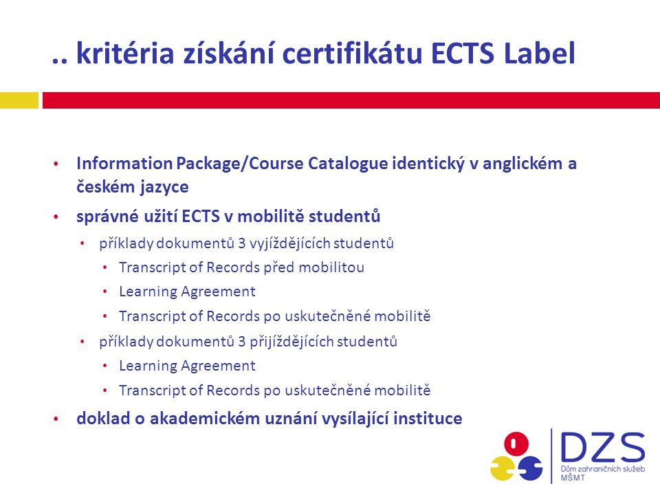 .. kritéria získání certifikátu ECTS Label Information Package/Course Catalogue identický v anglickém a českém jazyce správné užití ECTS v mobilitě st