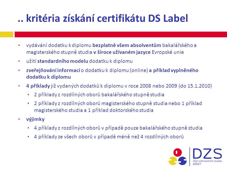 .. kritéria získání certifikátu DS Label vydávání dodatku k diplomu bezplatně všem absolventům bakalářského a magisterského stupně studia v široce uží