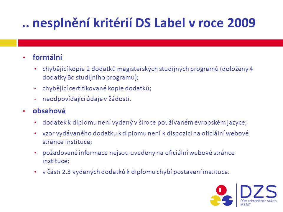 .. nesplnění kritérií DS Label v roce 2009 formální chybějící kopie 2 dodatků magisterských studijných programů (doloženy 4 dodatky Bc studijního prog