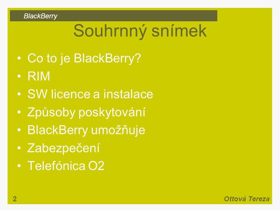 BlackBerry 2Ottová Tereza Souhrnný snímek Co to je BlackBerry.