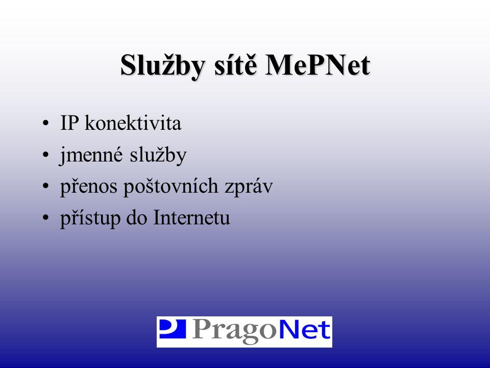 Služby sítě MePNet IP konektivita jmenné služby přenos poštovních zpráv přístup do Internetu