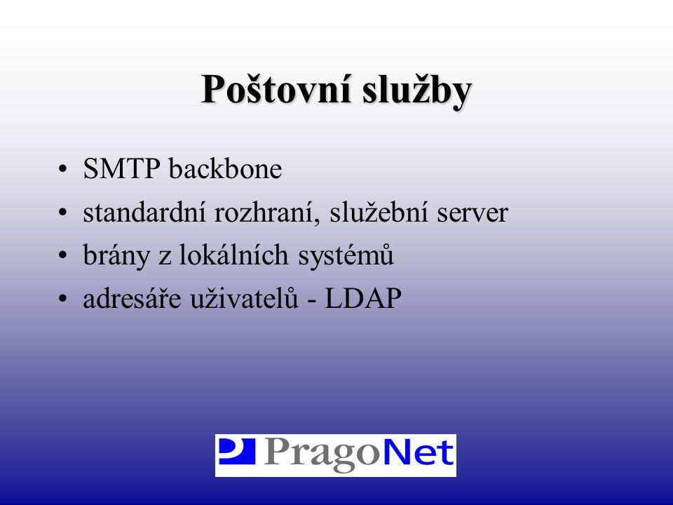 Poštovní služby SMTP backbone standardní rozhraní, služební server brány z lokálních systémů adresáře uživatelů - LDAP