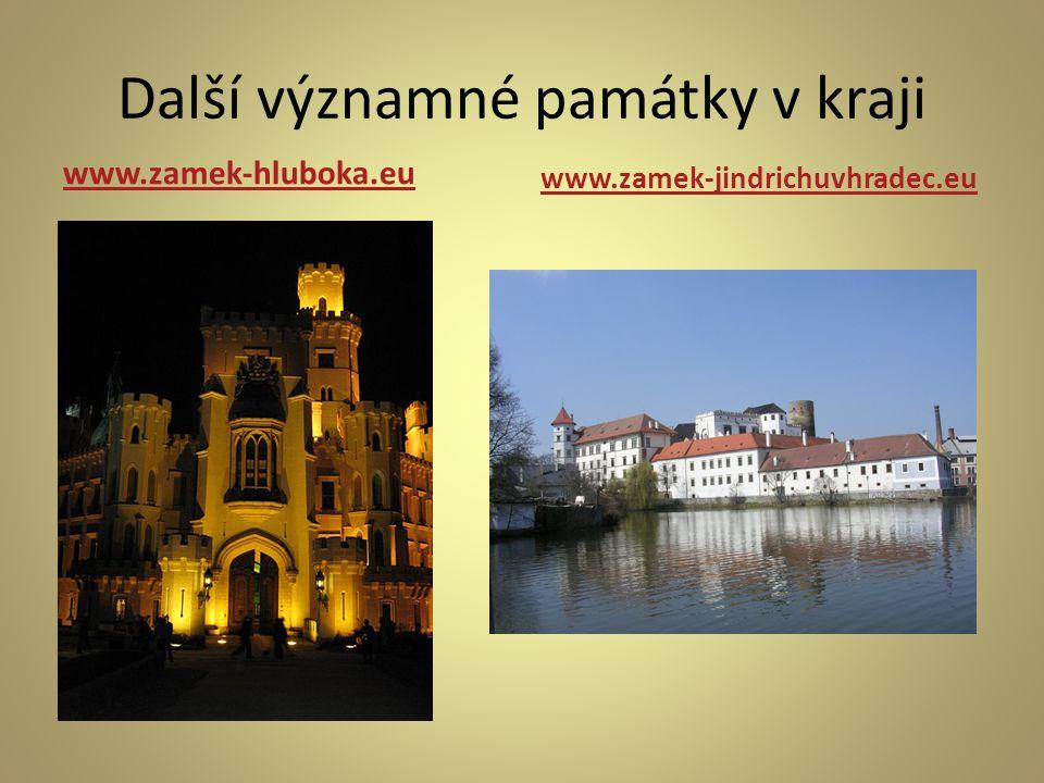 Další významné památky v kraji www.zamek-hluboka.eu www.zamek-jindrichuvhradec.eu