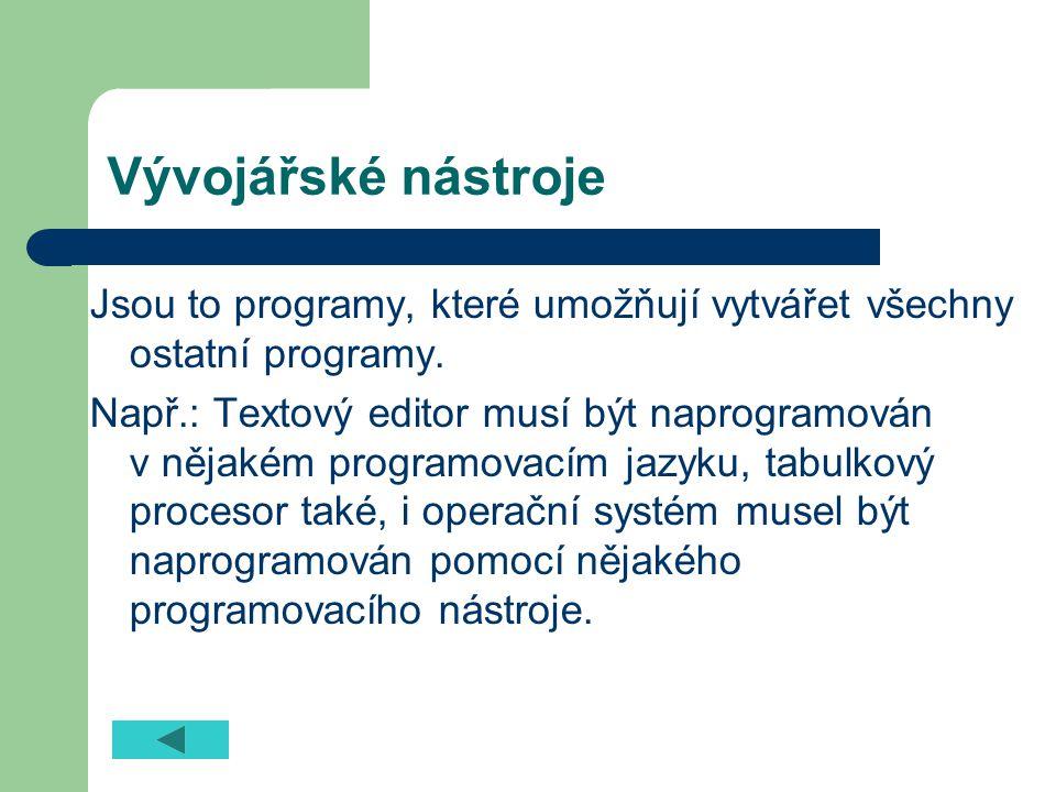 Ostatní Webové prohlížeče (načte webovou stránku a zobrazí ji) Poštovní a komunikační programy (vytváření, odesílání, přijímání a organizace zpráv včetně příloh; on-line komunikace textová, hlasová i obrazová) Výukové programy (sebevzdělávání) Speciální programy (diagnostika chorob, modelování přírodních jevů, řízení technologických procesů, řídící a zabezpečovací systémy jaderných elektráren apod.)