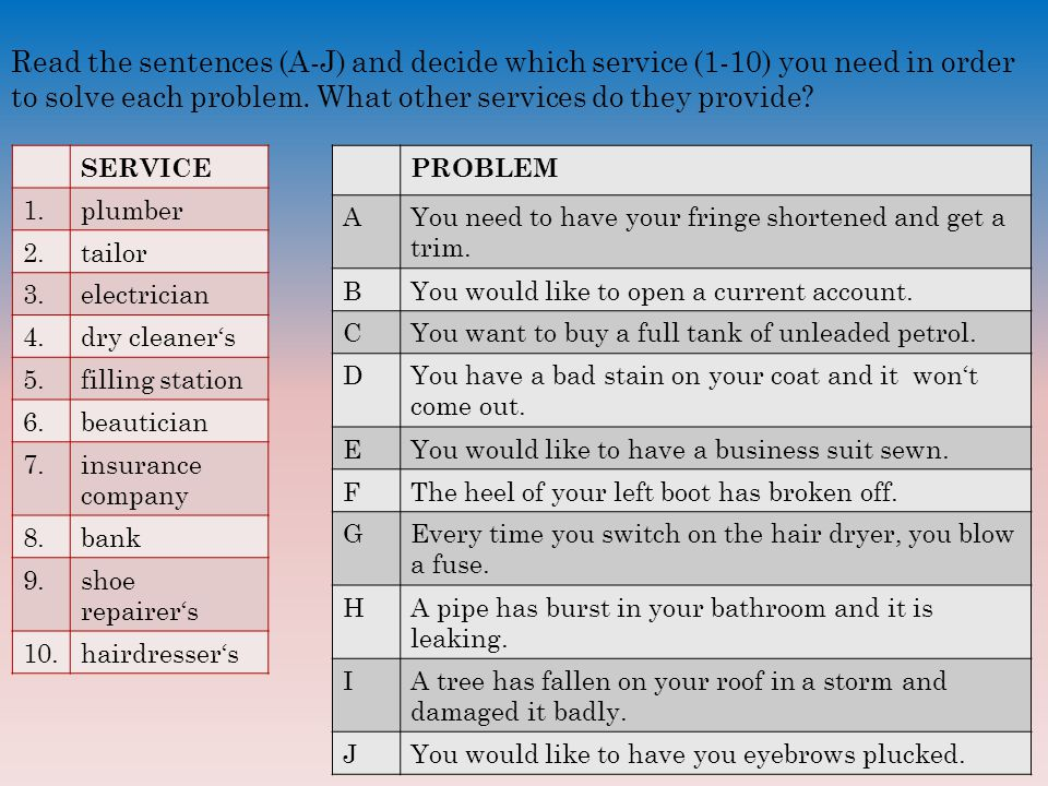 Read the sentences (A-J) and decide which service (1-10) you need in order to solve each problem.