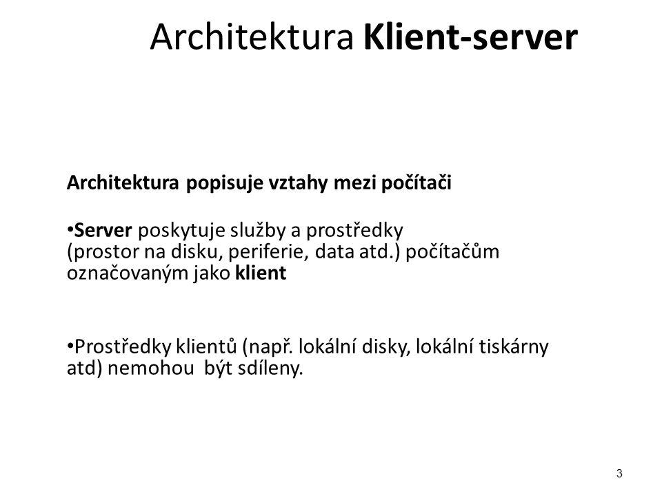 Architektura Klient-server Architektura popisuje vztahy mezi počítači Server poskytuje služby a prostředky (prostor na disku, periferie, data atd.) počítačům označovaným jako klient Prostředky klientů (např.