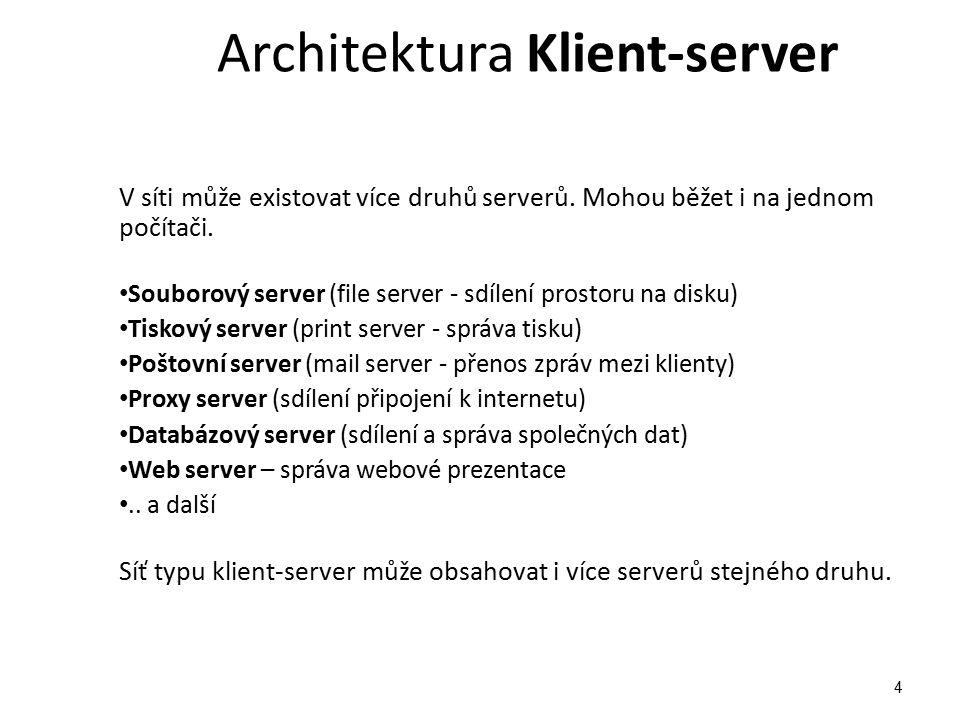 Architektura Klient-server V síti může existovat více druhů serverů.