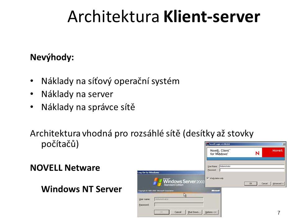 Architektura Peer to peer Propojení více rovnocenných počítačů Každý počítač klientem i serverem Každý může nabídnout své prostředky ke sdílení Obtížná správa sítě - rozložena na jednotlivých počítačích Nekvalifikovaní uživatelé - chaos 8