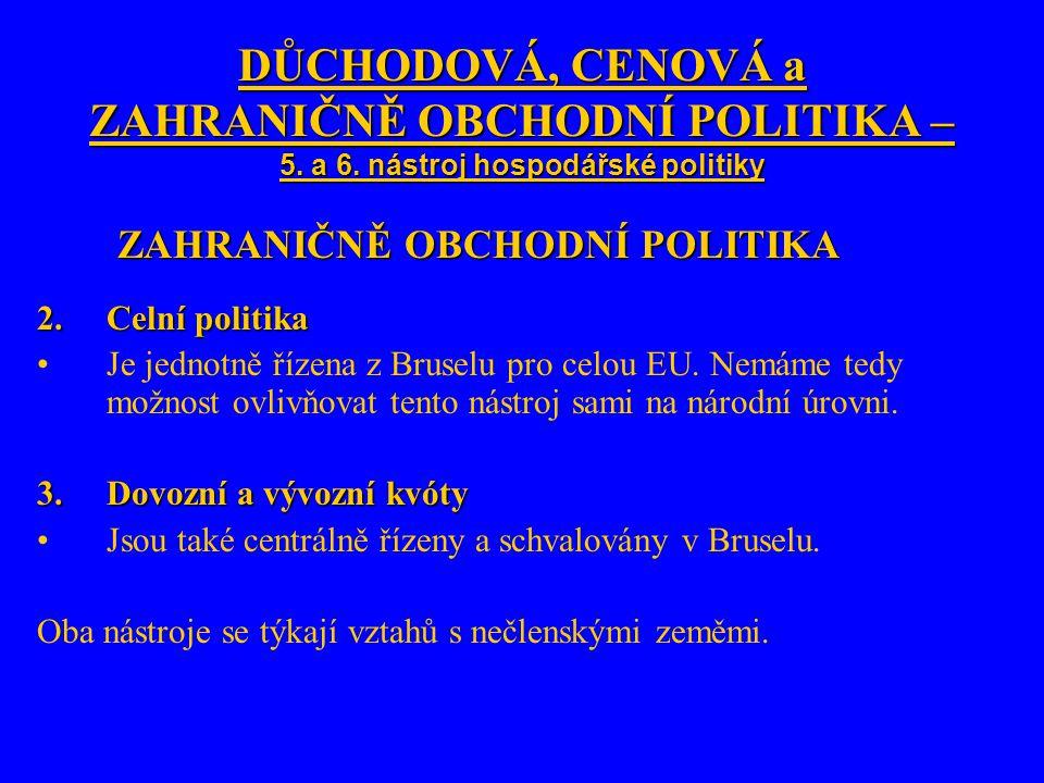 DŮCHODOVÁ, CENOVÁ a ZAHRANIČNĚ OBCHODNÍ POLITIKA – 5.
