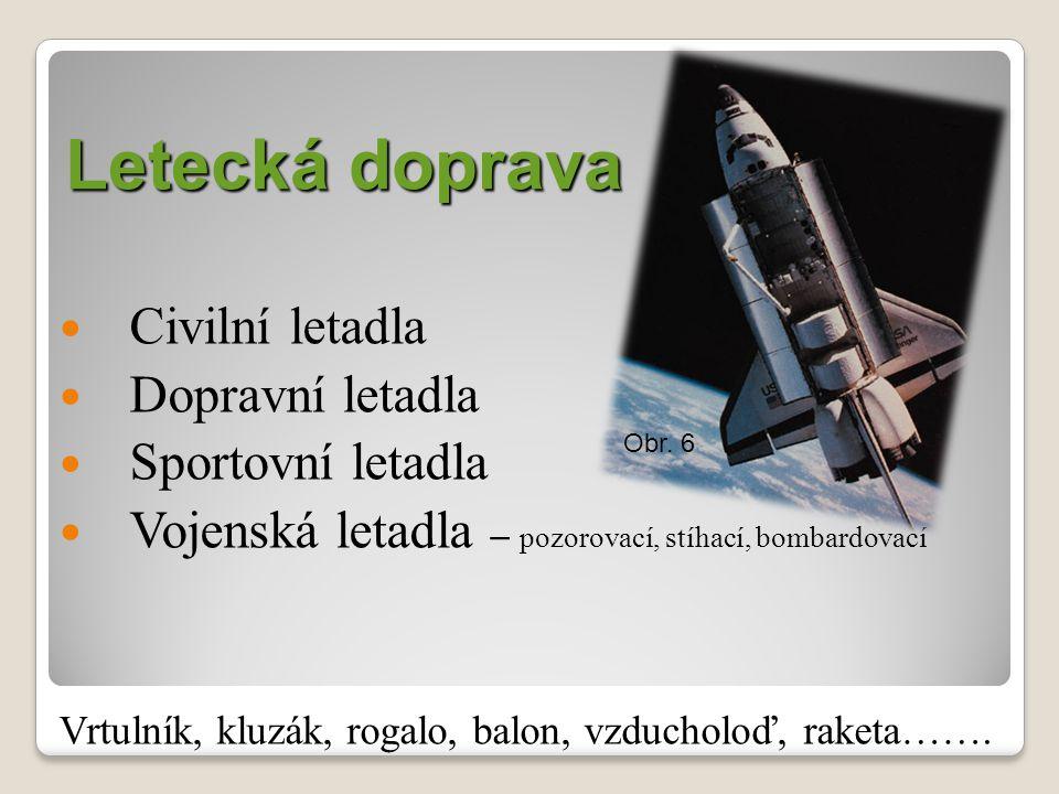 Letecká doprava Civilní letadla Dopravní letadla Sportovní letadla Vojenská letadla – pozorovací, stíhací, bombardovací Vrtulník, kluzák, rogalo, balon, vzducholoď, raketa…….