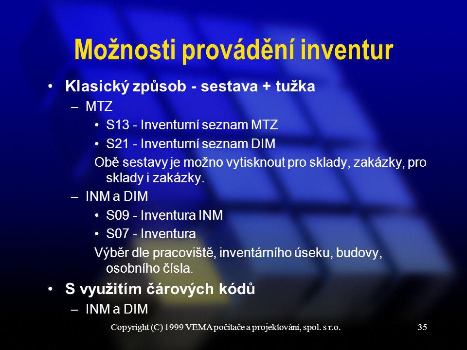 Copyright (C) 1999 VEMA počítače a projektování, spol. s r.o.35 Možnosti provádění inventur Klasický způsob - sestava + tužka –MTZ S13 - Inventurní se