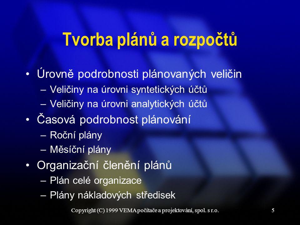 Copyright (C) 1999 VEMA počítače a projektování, spol. s r.o.5 Tvorba plánů a rozpočtů Úrovně podrobnosti plánovaných veličin –Veličiny na úrovni synt