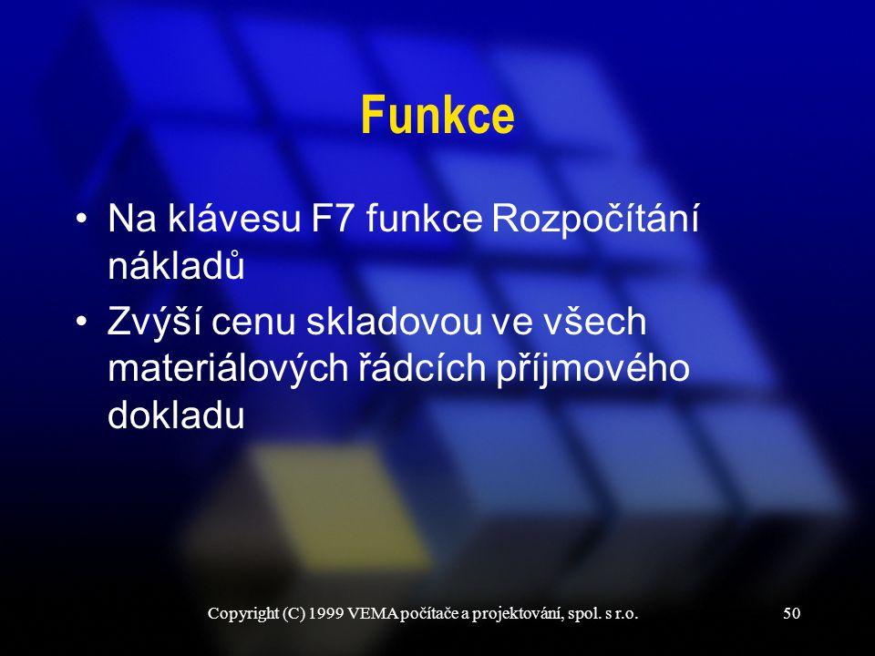 Copyright (C) 1999 VEMA počítače a projektování, spol. s r.o.50 Funkce Na klávesu F7 funkce Rozpočítání nákladů Zvýší cenu skladovou ve všech materiál
